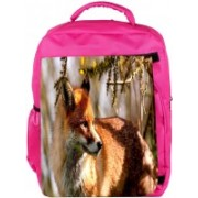 Snoogg Eco Friendly Canvas Abstract Fox Designer Backpack Rucksack School Travel Unisex Casual Canvas Bag Bookbag Satchel 5 L Backpack(Pink)