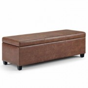 Brooklyn + Max Lincoln 48 inch Wide Contemporary Rectangle Storage Ottoman in Distressed Umber Brown Faux Air Leather