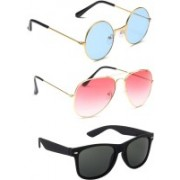 Elligator Round, Aviator, Wayfarer Sunglasses(Blue, Pink, Black)
