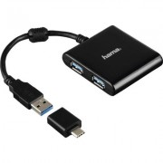 4-портов хъб USB 3.1 HAMA12325, USB-C адаптер, 4 x USB-A, bus-powered, Черен