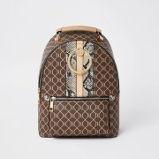 river island Womens Brown monogram print ring backpack (One Size)