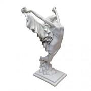 Design Toscano Free Spirit Art Deco Dancer Estatua de Resina de mármol adherida, Color Blanco