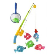 Magnetic Light Up Fishing Bath Toy Set For Kids Rod & Reel With Turtle And 5 Unique Fish
