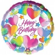 Balon folie 45 cm Happy Birthday Hearts