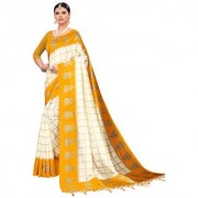 Indian Beauty Women's Yellow Color Mysore Silk Printed Saree Border Tassels With Blouse Piece(WEDDING-JHUMKA-YELLOW_Free Size)