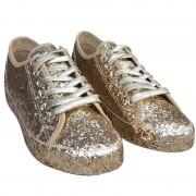 Merkloos Gouden glitter disco sneakers/schoenen voor dames 38 - Verkleedschoenen