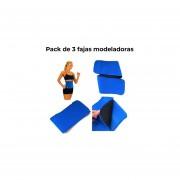 Pack de 3 fajas modeladoras - Waist Trimmer-Azul