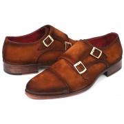 Paul Parkman Cap Toe Double Monk Strap Shoes Camel Suede 045TAB12