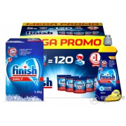 Tablete Finish All in One megabox 5x24 buc, sare regeneranta Finish 1,5 kg, lichid clatire Finish Shine & Protect Citrom 400ml, pentru masina de spalat vase