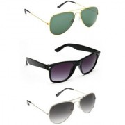 Derry Pack of 3 Sunglasses ( 2 Aviator and 1 Wayfarer sunglass)
