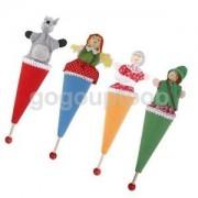 Alcoa Prime 4pcs Wooden Head Dolls Hoodwinked Hide And Seek Party Bag Fillers Kids Toy