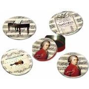 FRI.17946 Poháralátét fém-parafa 4db-os szett dia 9,5cm, fémdobozban, Mozart