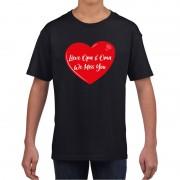 Bellatio Decorations Lieve opa en oma we miss you t-shirt zwart met rood hartje voor kinderen L (146-152) - Feestshirts