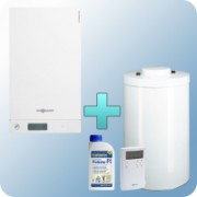 Viessmann Vitodens 100-W Touch 19 kW gázkazán, kondenzációs hőközpont Vitocell 100-W 100 L tárolóval Vitotrol 100 UTDB szobatermosztáttal EU-ERP ajándék Fernox Protector F1 inhibitorral - VI-B1HC062