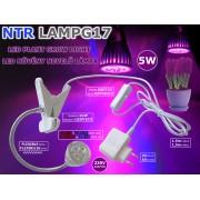 NTR LAMPG17 5W LED növény nevelő lámpa 450nm kék és 660nm piros LED-ekkel, csíptetővel 230V