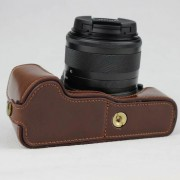 PU Leather Camera Half Case Bottom Mount Cover for Canon EOS M50 - Coffee