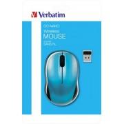 Egér, vezeték nélküli, optikai, közepes méret, USB, VERBATIM Go, karibikék (VE49044)
