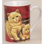 123 Kado koffiemokken Mok met katten rood 10 cm