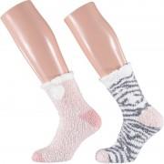 Apollo 2-pack warme bedsokken zebra roze/wit voor dames