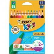 BIC Deutschland GmbH & Co. OHG BiC® Kids Dreikant-Schreiblernbuntstift, 12 Farben, Dreikantstift mit robuster Miene speziell für Schreibanfänger, 1 Packung = 12 Stück