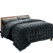 Giselle Bedding Faux Mink Quilt Comforter Throw Blanket Doona Charcoal Queen