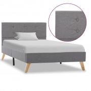 vidaXL Rama łóżka, jasnoszara, tapicerowana tkaniną, 100 x 200 cm