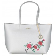 Kisses of Pearl Zilveren Shopper Tas Kisses Of Pearl met Bloemen