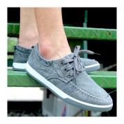 Casual Zapatos De Lona Verano Denim Lavados E-Thinker Para Hombres -Gris