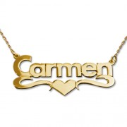 Personalized Men's Jewelry 14K Gold Print Heart Name Necklace 101-01-070-01