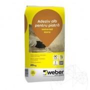 Бяло лепило за настилки и облицовки от естествен камък Weber SetStone Флекс Про 25 кг