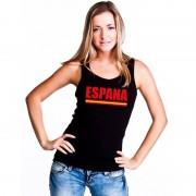 Bellatio Decorations Spanje supporter mouwloos shirt/ tanktop zwart dames S - Feestshirts