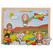 Skillofun Wooden Magnetic Twin Play Tray - Rainbow Scene, Multi Color