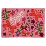 Covor usa intrare roz cu fluturi si flori Bonjour