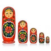 "Toolart® 6"" Set of 5 Wooden Russian Nesting Dolls - Matryoshka Stacking Nested Wood Dolls"
