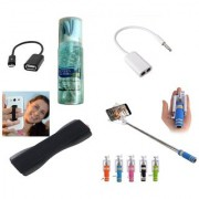 (S07) Combo of Selfie Stick Finger Grip Splitter Cable Cleaning Spray Kit and OTG Cable (Assorted Colors)