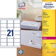 ORIGINAL AVERY Zweckform Articoli da ufficio L7160-100 Adress-Etiketten (63,5 x 38,1mm) Etichette per indirizzo AVERY, QuickPEEL, 63,5 x 38,1 mm, bianco, ProNature - certificato FSC, Contenuto: 2.100 etichette su 100 fogli di carta A4