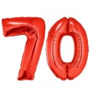 70-es piros szám fólia lufi
