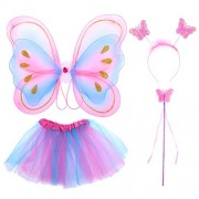 LUOEM Kids Princess Fairy Costume Butterfly Costumes Outfit Set Wing Wand Headband Tutu Skirt for Party Dress up 4Pcs