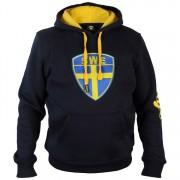 Hoodtröja Sverige Broderad Sköld