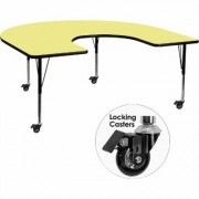 Flash Furniture Mobile Horseshoe-Shaped Activity Table with Casters - Yellow, 60Inch W x 66Inch D x 17 3/8Inch-25 3/8Inch H, Model XUA6066HRSYLTPC