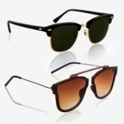 Knotyy Retro Square, Clubmaster Sunglasses(Green, Brown)