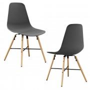 [en.casa]® Елегантен стол Eindhoven комплект от 2 броя, дървени крака 85,5 x 46 cm Сив