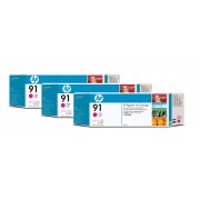 HP 91 Magenta 3 Ink Multi Pack Printhead used with the DesignJet Z6100 photo printers. Each mulitpack contains 3 each 775ml ink cartridge.