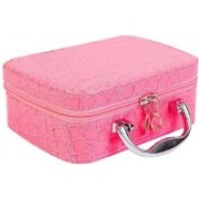 Dholakiya Box with Magnifying Compact Mirror Makeup, Jewellery Travel Toiletry Kit Travel Toiletry Kit(Pink)
