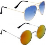 Phenomenal Aviator, Round Sunglasses(Blue, Yellow)