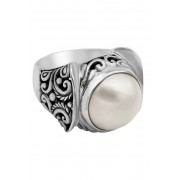 DEVATA Sterling Silver Bali Filigree 14mm Cultivated Mabe Pearl Ring SILVER WHITE