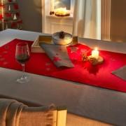 Sternenzauber Tischsets und Tischläufer, Grau/Rot, Tischläufer, Tischdecke Tischwäsche
