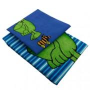 Cearceaf pilota + 1 fata de perna True Style imprimeu cu broscuta 100x135 cm bumbac Albastru/Verde pentru copii