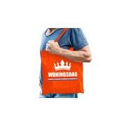 Bellatio Decorations Woningsdag tas / shopper oranje katoen met witte tekst en kroon voor heren