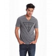 GUESS Bordeaux Logo V-Neck Tee medium charcoal heather